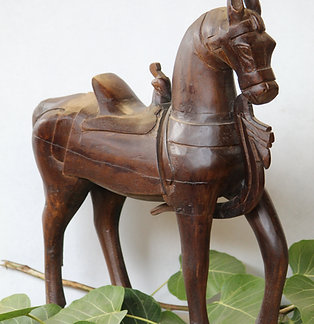 Indian Vintage Unique Home Decor Decorative Wooden Brown Horse