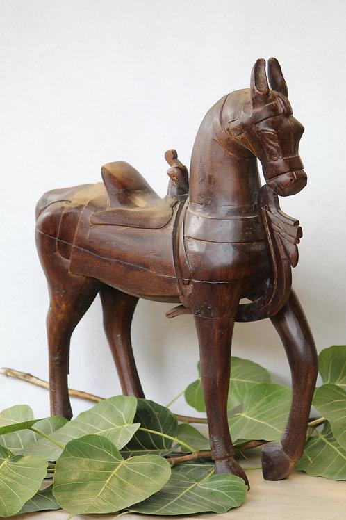 Indian Vintage Unique Home Decor Decorative Wooden Brown Horse
