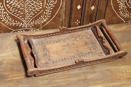 Kotsa Vintage Designer Tray   Wooden Brown Tray For Serving K20