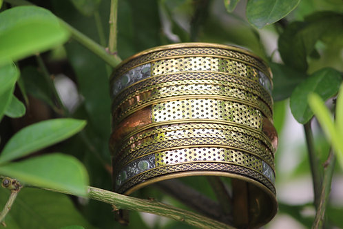 Kotsa Four line brass and German silver bracelet hand cuff bracelet Unisex jewel