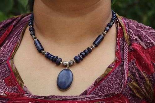 Lapis lazuli necklace handmade gemstone beautiful design jalebi jewels