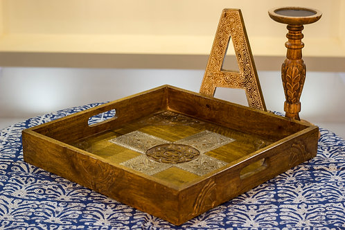 Kotsa Square Tray With Carving On Side Designer Item 622