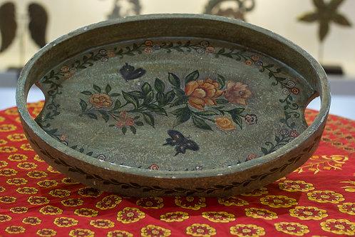 Kotsa Round Tray With Carving On Side Designer Item 608