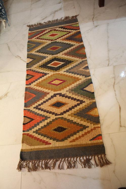 Kotsa New Carpet For Bedroom | Multi Color Rombus Pattern Carpet | KC03