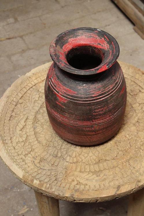 Kotsa Vintage Rusted Red Iron Pot Decor Piece | Living Room Pot Decor  Art K26