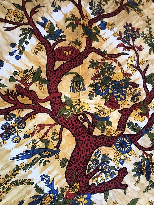 Kotsa Cotton Single Mandala Bedsheets   Tree Of Life   Handmade Print   B24