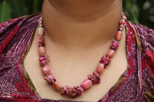 Rose quartz  handmade stone necklace one rare piece unique  authentic designs