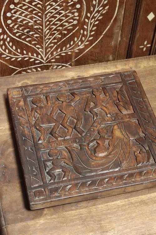 Kotsa Indian Vintage Designer Wall Decor   Wooden Decor With Human Pattern K16