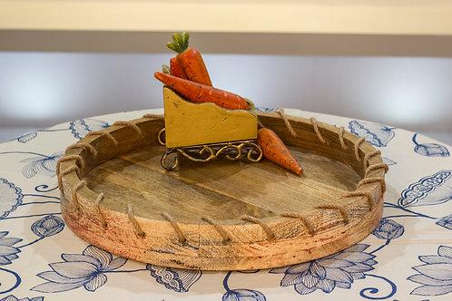 Kotsa Round Tray With Carving On Side Designer Item 631