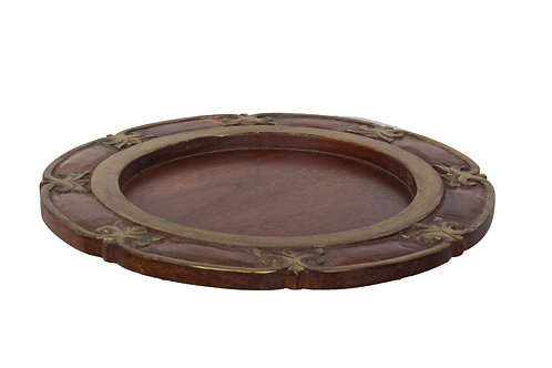Kotsa Round Tray With Carving On Side Designer Item 602
