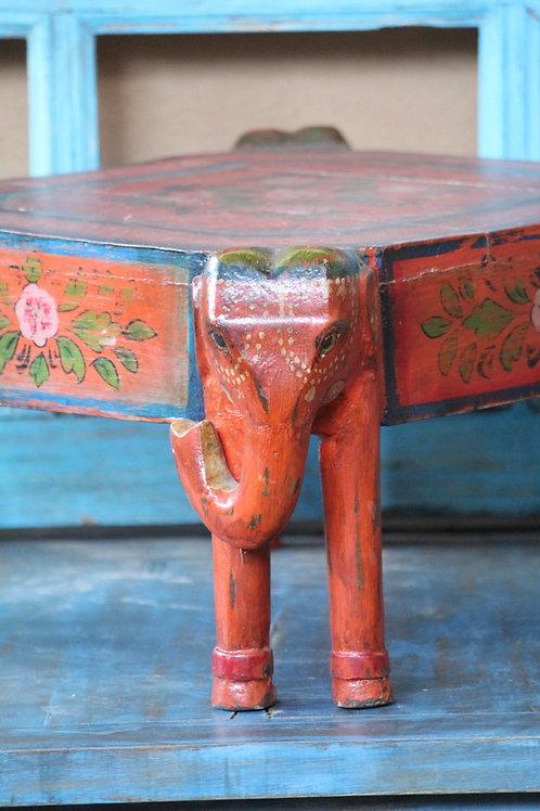 Wooden bajot table multi purpose . Orange vintage rustic finish