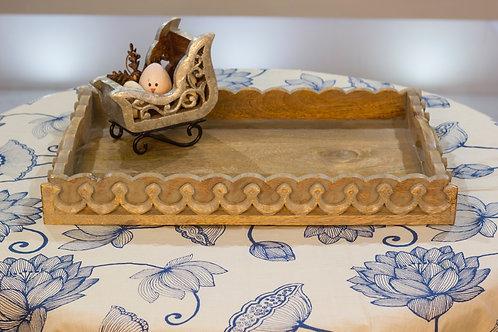 Kotsa Rectangle Tray With Carving On Side Designer Item 630