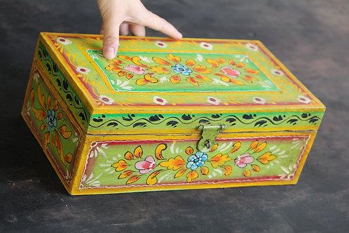 Indian Vintage Unique Home Decor Decorative Wooden Yellow Leaf Desiner  Box