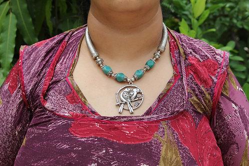 Kotsa Handmade silver tribal two bird love design gemstone unique necklace