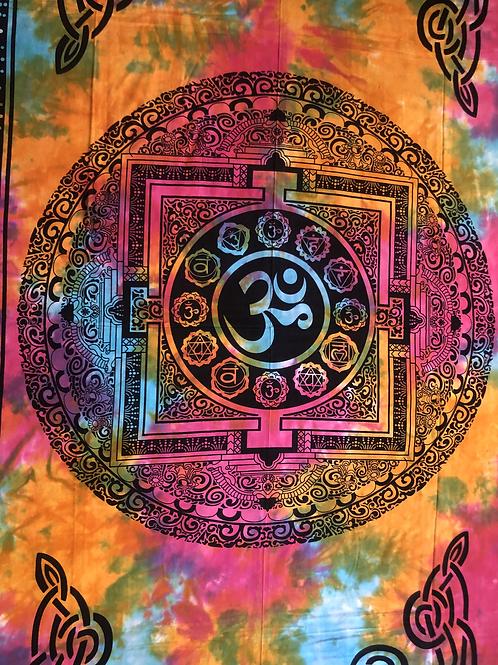 Kotsa Cotton Single Mandala Bedsheets | Om Chakra Design  | Handmade | B07