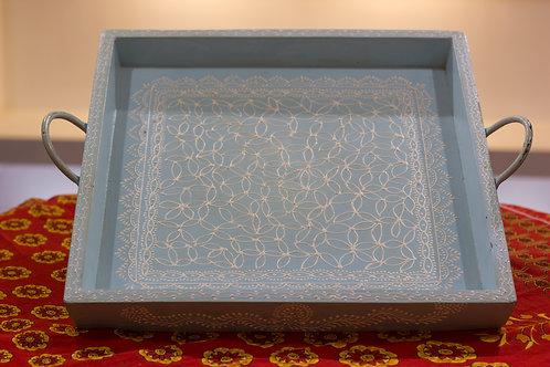 Kotsa Square Tray With Carving On Side Designer Item 617