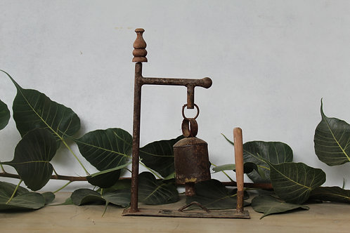 Handicraft Iron Bell | Recycled Metal Rusted Bell | Office Decor Bell K73