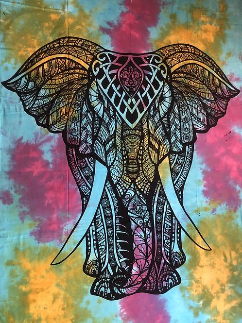 Kotsa Cotton Single Mandala Bedsheets | Elephant Pattern | Handmade Print | B23