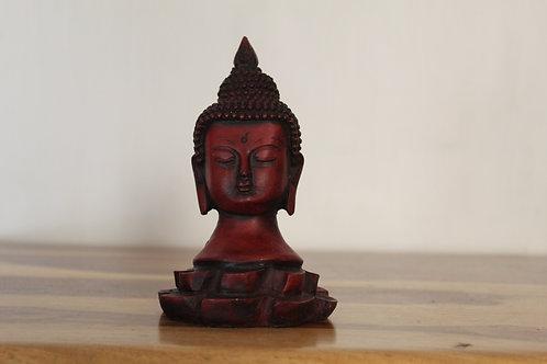 Kotsa Wooden Buddha Face Statue In  Pure Black  Religuos Buddha Face Statue