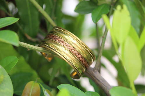 Kotsa Cuff bracelet handmade brass German silver mixed lined jewels unique one