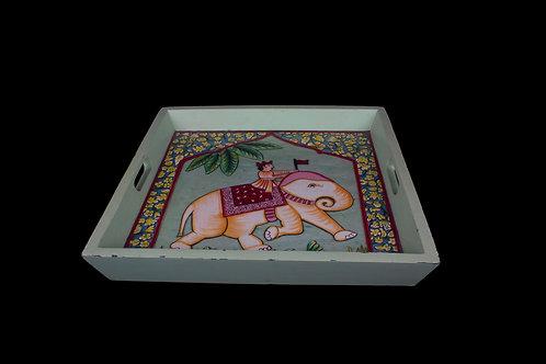 Kotsa Square Tray With Carving On Side Designer Item 606