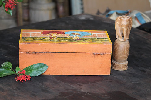 Indian Vintage Unique Home Decor Decorative Wooden Orange Designer Box