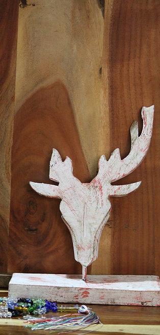 Handmade wooden reindeer head