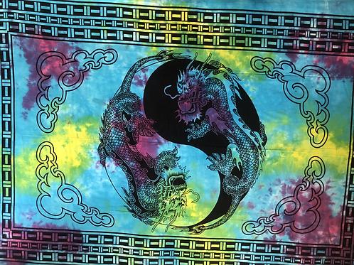 Kotsa Cotton Single Mandala Bedsheets | Dragon Design  | Handmade | B10