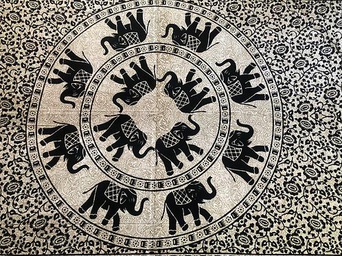 Kotsa Cotton Single Mandala Bedsheets   Elephant Rangoli   Handmade   B16