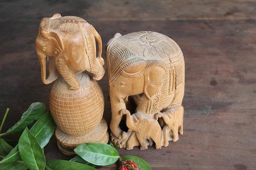 Indian Vintage Unique Home Decor DecorativeWooden Elephant Family