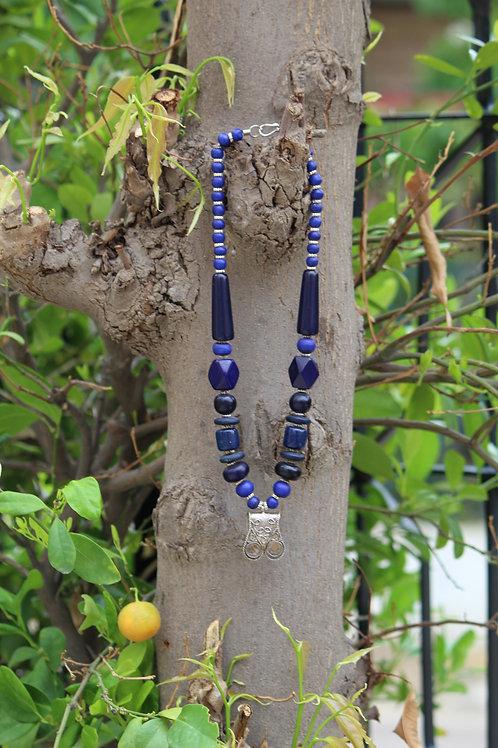 Lapis lazuli handmade stone necklace one rare piece u inquest authentic designs