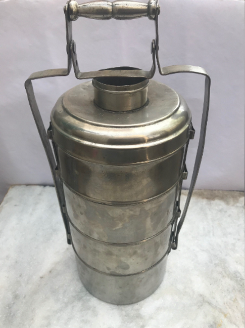 Handicraft Old Real Antique Handmade German Silver Tiffin | Food Container | K85