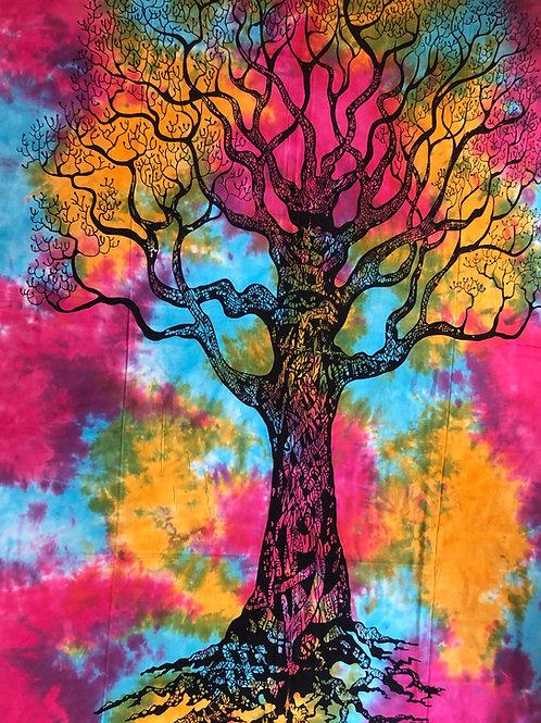 Kotsa Cotton Single Mandala Bedsheets | Tree Of Life | Handmade Prints | B02