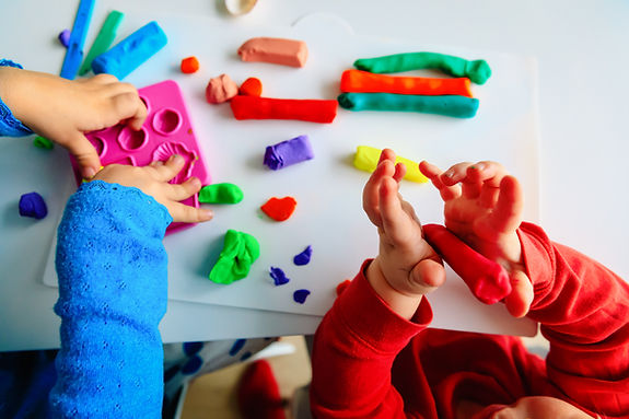 kids play with clay molding shapes, lear