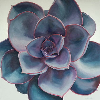 Blue/Purple with Hot Edges Succulent Print