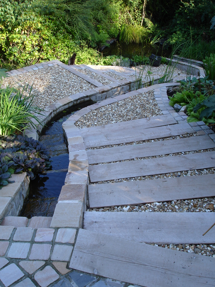 10 steeply sloping garden in Uplyme two years after construction and planting up