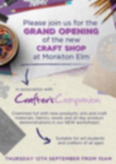 Monkton Elm craft store opening - A5 lea