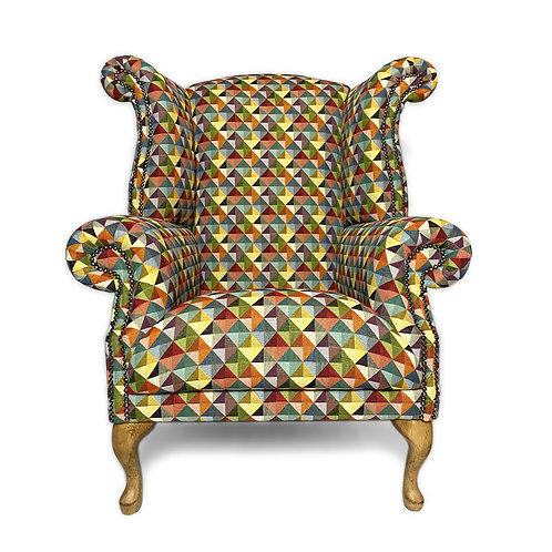 Queen Anne Wingback Chair, Big Holland Geometric
