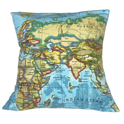 "Envelope Cushion 50cm (20""), World Map - Colour"