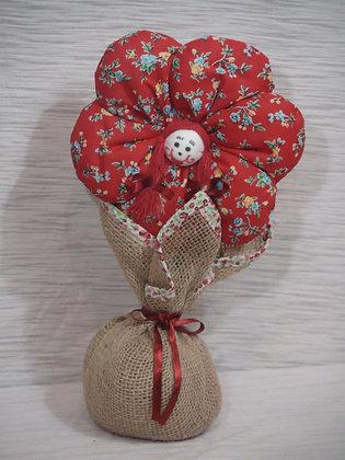 Peso para Porta Flor em Juta e Algodão Vermelha