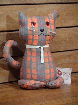 Peso para Porta Gato Sentado em Algodão Xadrez