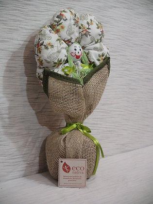 Peso para Porta Flor em Juta e Algodão Verde