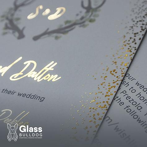 Bespoke foiled stag wedding invitation 2