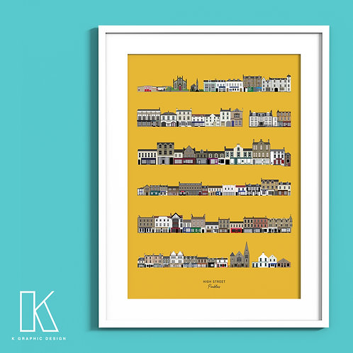 A4/A3 Peebles High Street print (yellow)