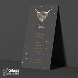 Foiled highland cow themed wedding menu