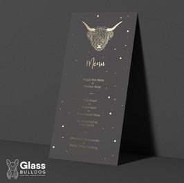 Foiled highland cow themed wedding menu