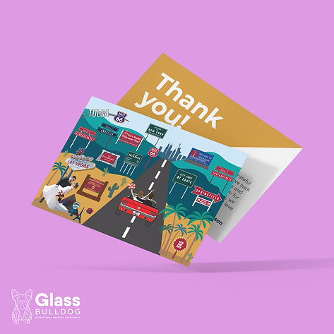 Bespoke Route 66 thank you card