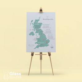 Bespoke wedding map table plan
