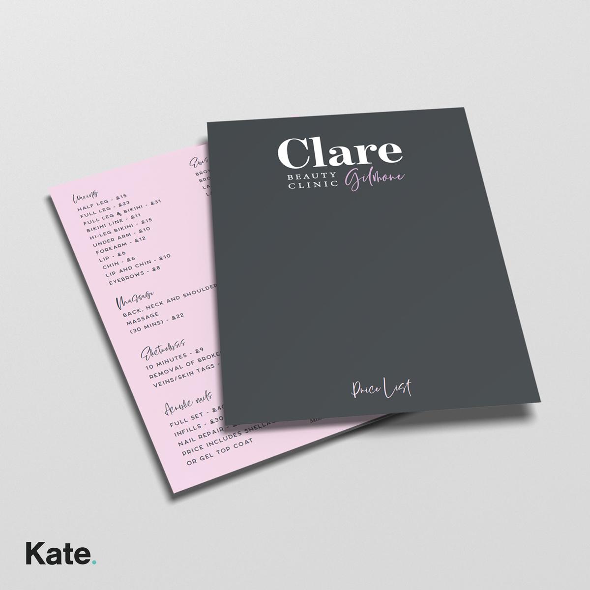 Clare Gilmore Price list
