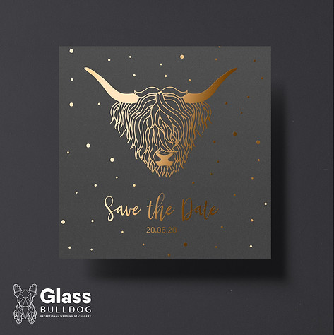Foiled highland cow save the date